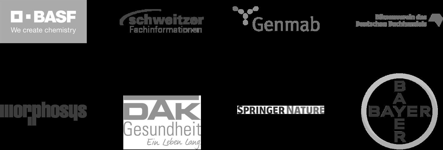 BASF; Schweitzer; Genmab; Borsenverein des Deutschen Buchhandels; Morphosys; Dak; Springer Nature; Bayer