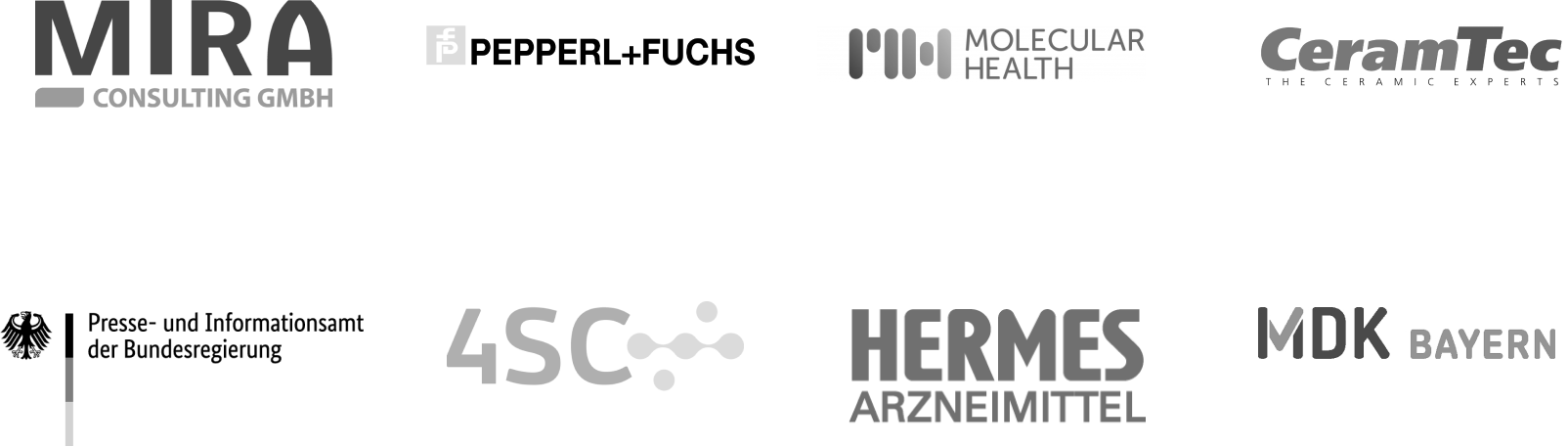 Mira; Pepperl + Fuchs; Molecular Health; CeramTec; Presse- und Informationsamt der Bundesregierung; 4SC; Hermes Arzneimittel; MDK Bayern